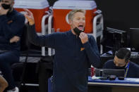 Golden State Warriors head coach Steve Kerr gestures during the first half of an NBA basketball game against the Charlotte Hornets in San Francisco, Friday, Feb. 26, 2021. (AP Photo/Jeff Chiu)