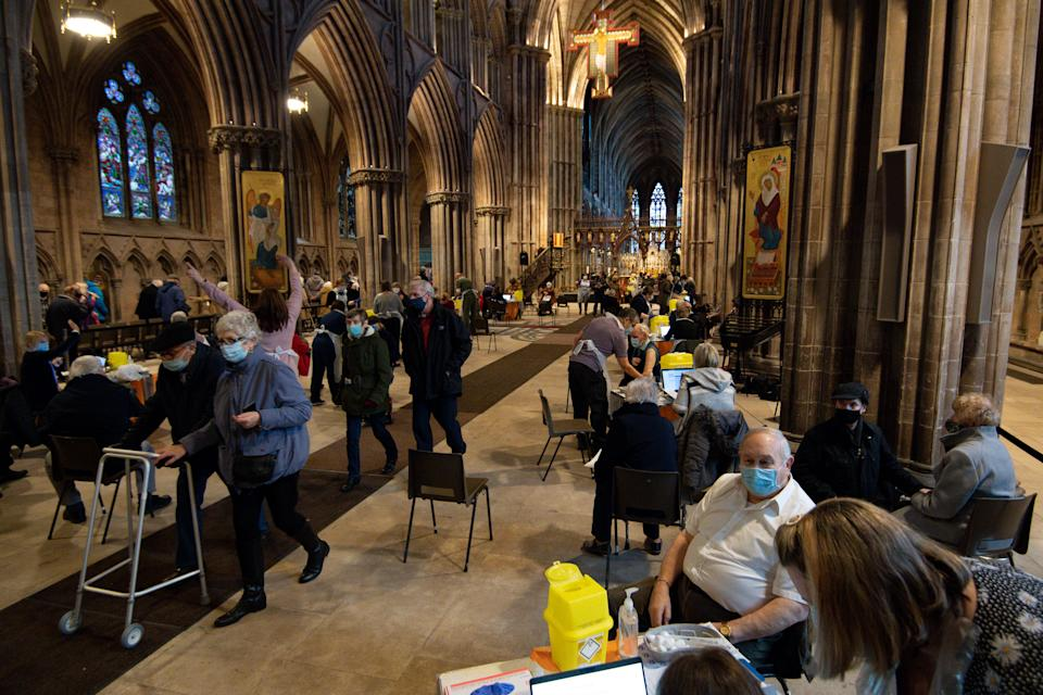 Members of the public at Lichfield Cathedral, Staffordshire, to receive the Oxford/AstraZeneca coronavirus vaccine. (Photo by Jacob King/PA Images via Getty Images)