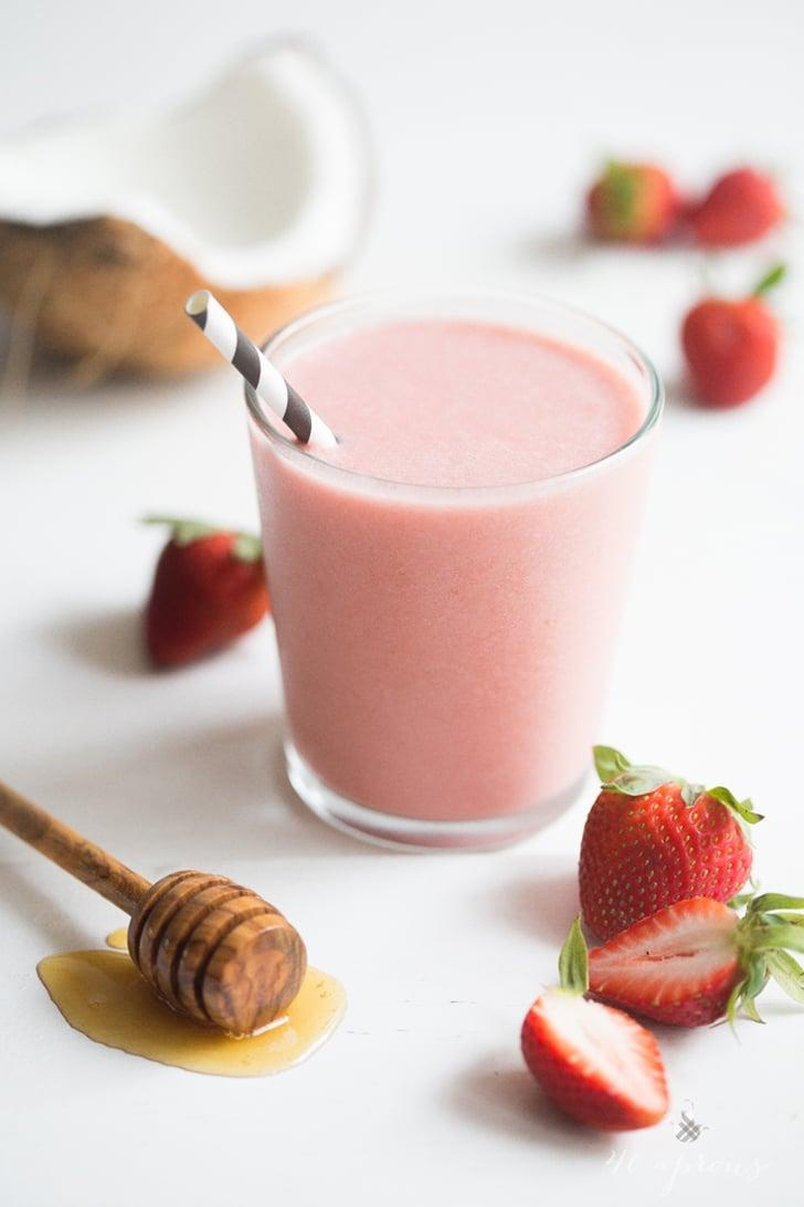 """<p>If you're craving a rich strawberry milkshake, this vegan smoothie has come to the rescue! With only three ingredients, it's super easy and fast to make. Just blend strawberries, coconut milk, and fresh dates together to make the creamiest smoothie of all!</p> <p><strong>Get the recipe</strong>: <a href=""""http://40aprons.com/strawberries-and-cream-smoothie/"""" class=""""link rapid-noclick-resp"""" rel=""""nofollow noopener"""" target=""""_blank"""" data-ylk=""""slk:vegan strawberries and cream smoothie"""">vegan strawberries and cream smoothie</a></p>"""