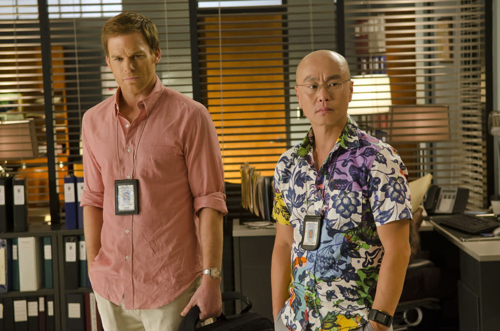 "C.S. Lee as Vince Masuka and Michael C. Hall as Dexter Morgan in the ""Dexter"" episode, ""Chemistry."""