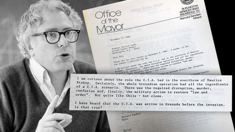 Then Burlington, VT Mayor Bernie Sanders in 1983 and his letter to Sen. Patrick Leahy. (photo illustration: Yahoo News; photos: AP, via University of Vermont Libraries)
