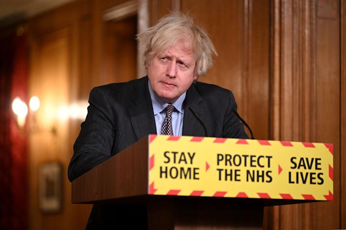 Prime Minister Boris Johnson during a media briefing in Downing Street, London, on coronavirus (Covid-19). Picture date: Monday February 22, 2021.