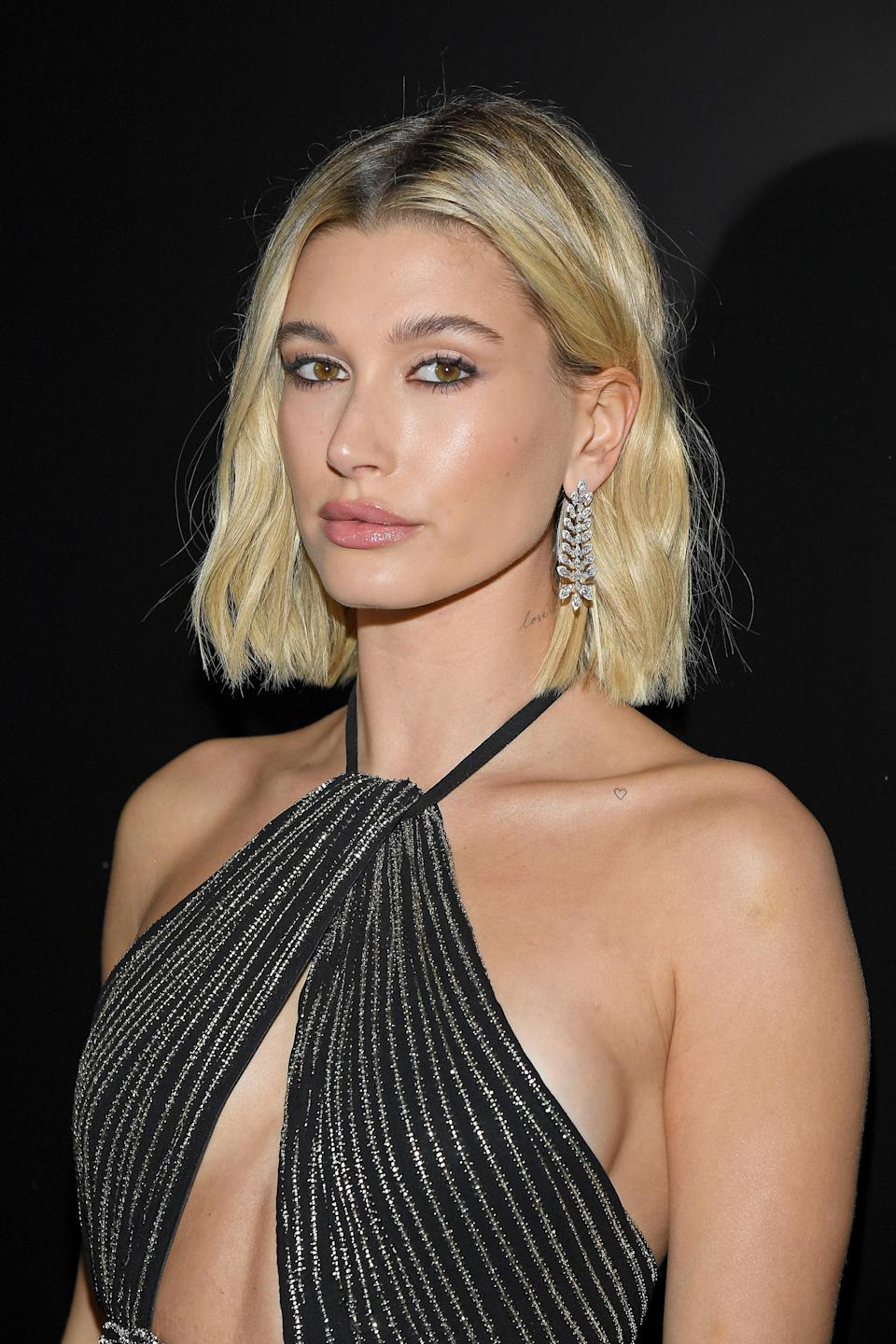 A lob that ends right at the nape of the neck like Hailey Bieber's will always be in style.