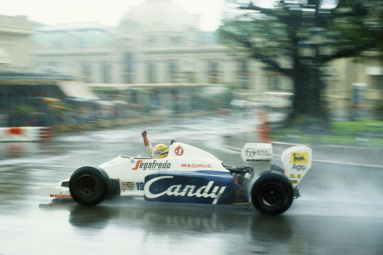 MONTE CARLO - JUNE 3:  Toleman driver Ayrton Senna of Brazil in action during the F1 Monaco Grand Prix held on June 3, 1984 at the Brands Hatch circuit in Monte Carlo, Monaco. (Photo by Mike Powell/Getty Images)