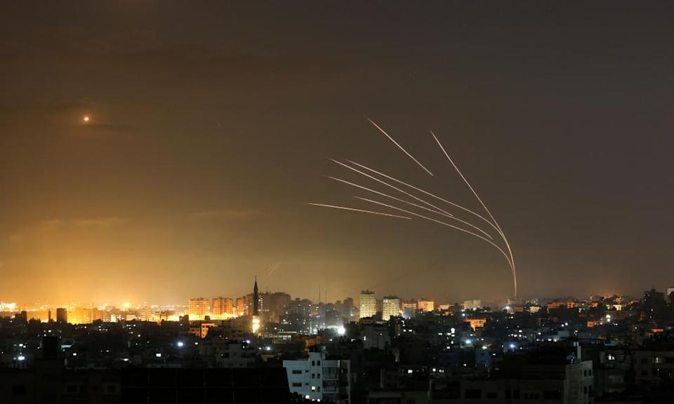Rockets being fired towards Israel from Beit Lahia in the northern Gaza Strip on Friday.