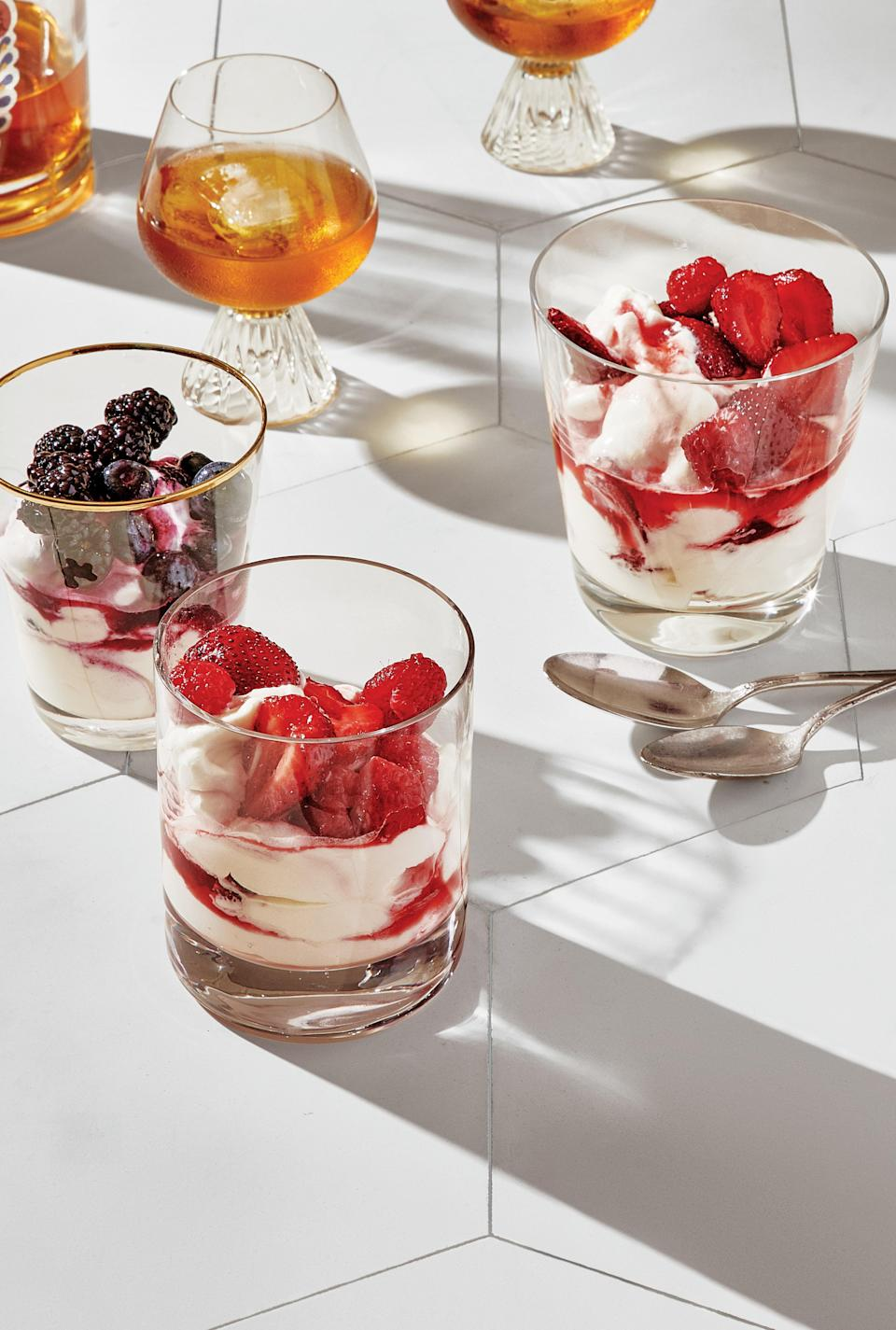 "There are few joys greater than eating ripe berries straight from the carton. But here's one: tossing them with sugar so they're juicier and sweeter, then folding them into freshly whipped cream. <a href=""https://www.epicurious.com/recipes/food/views/mix-and-match-summer-berry-and-cream-fools?mbid=synd_yahoo_rss"" rel=""nofollow noopener"" target=""_blank"" data-ylk=""slk:See recipe."" class=""link rapid-noclick-resp"">See recipe.</a>"