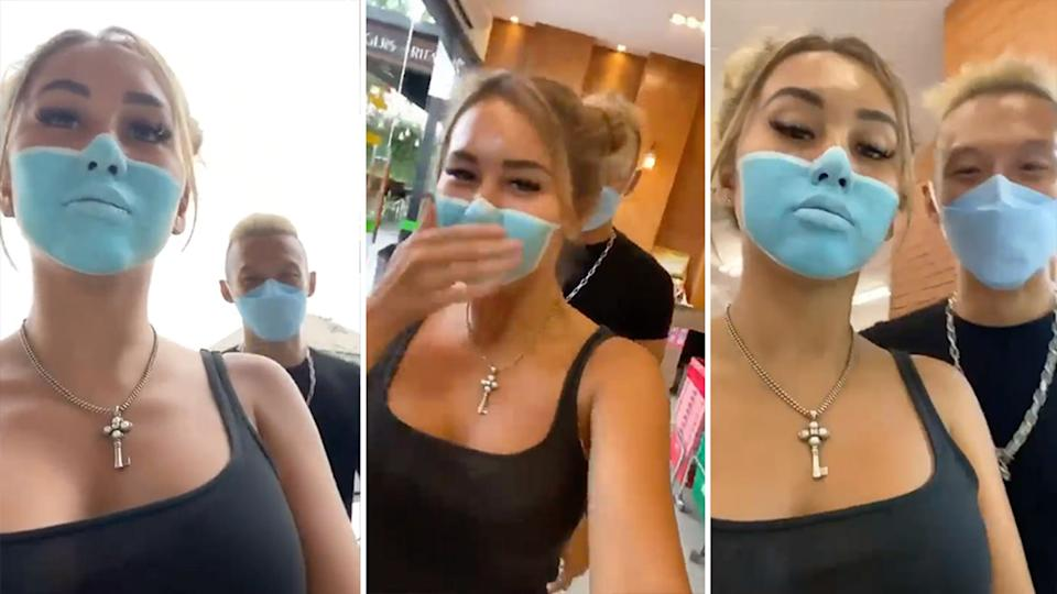 Josh Paler Lin and Leia Se have been ordered to leave Bali after a viral prank involving a painted face mask which flouted Covid rules. Source: Instagram/niluhdjelantik