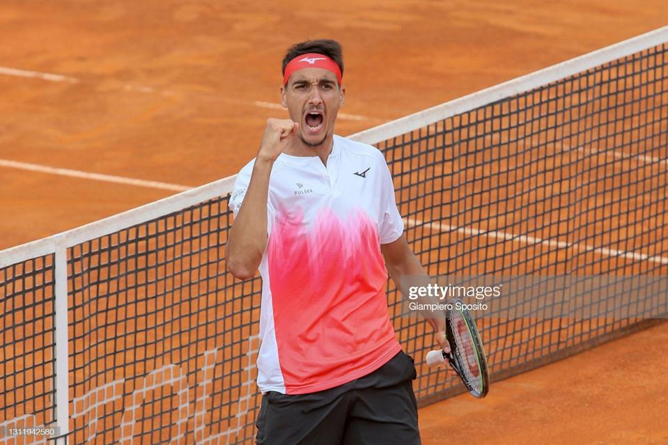 CAGLIARI, ITALY - APRIL 11: Lorenzo Sonego of Italy reacts after winning the second set in his final match against Laslo Djere of Serbia at the Sardegna Open on April 11, 2021 in Cagliari, Italy. (Photo by Giampiero Sposito/Getty Images) (Photo: Giampiero Sposito via Getty Images)