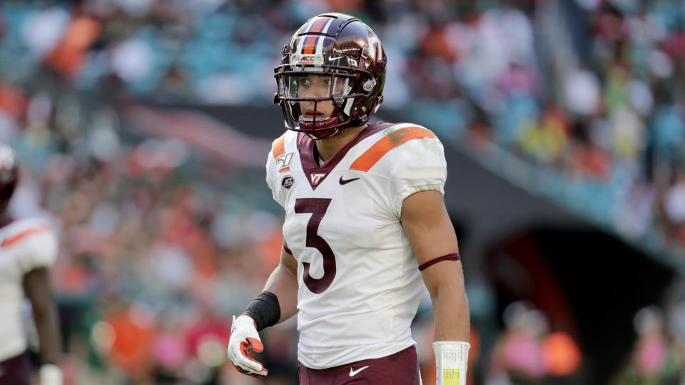 Virginia Tech defensive back Caleb Farley is undergoing back surgery and will miss his pro day. (AP Photo/Lynne Sladky)