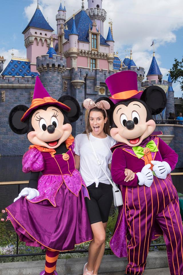 The <em>Scream Queens</em> actress looked the opposite of terrified as she visited with Mickey and Minnie during the parks' not-so-scary Halloween festivities.