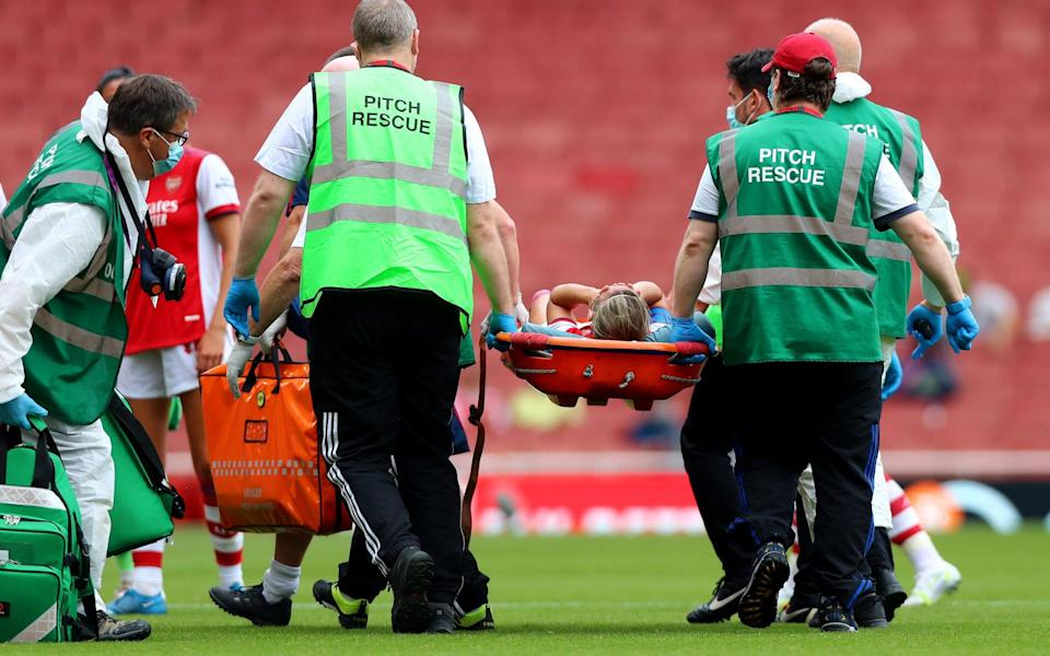 Jordan Nobbs is stretchered off the pitch - GETTY IMAGES EUROPE