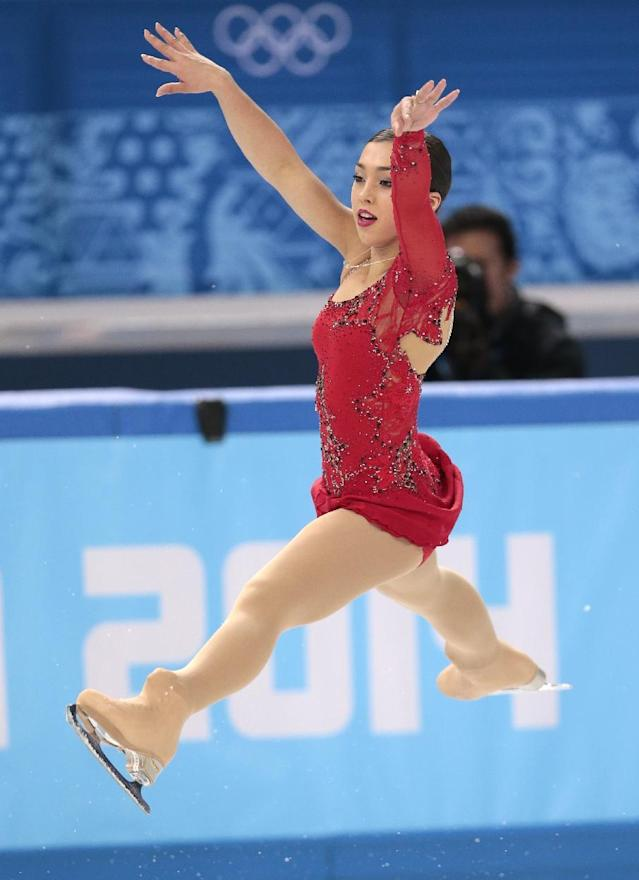 Gabrielle Daleman of Canada competes in the women's short program figure skating competition at the Iceberg Skating Palace during the 2014 Winter Olympics, Wednesday, Feb. 19, 2014, in Sochi, Russia. (AP Photo/Ivan Sekretarev)