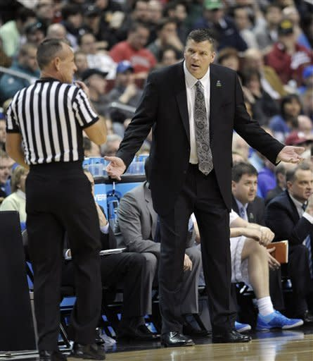 Creighton head coach Greg McDermott reacts to a call during the first half of a second-round game against Cincinnati during the NCAA college basketball tournament, Friday, March 22, 2013, in Philadelphia. (AP Photo/Michael Perez)