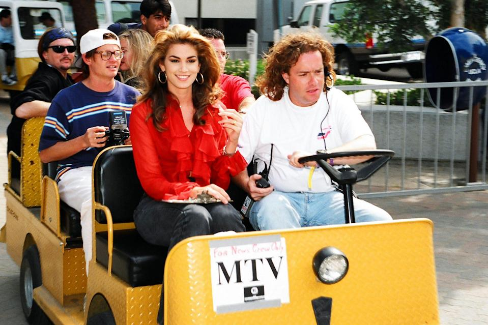 <p>Heading to set at the 1992 MTV Video Music Awards in L.A.</p>