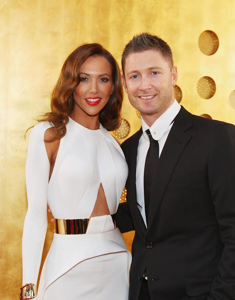 MELBOURNE, AUSTRALIA - FEBRUARY 04:  Michael Clarke of Australia and his wife Kyly Clarke arrive at the 2013 Allan Border Medal awards ceremony at Crown Palladium on February 4, 2013 in Melbourne, Australia.  (Photo by Scott Barbour/Getty Images)