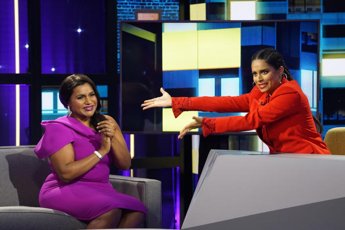 """A LITLLE LATE WITH LILLY SINGH -- """"Mindy Kaling"""" Episode 105 -- Pictured: (l-r) Mindy Kaling, Lilly Singh -- (Photo by: Scott Angelheart/NBC/NBCU Photo Bank via Getty Images)"""