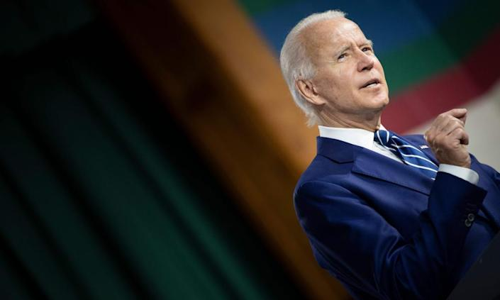 "<span class=""element-image__caption"">Joe Biden has largely been conducting his campaign from his basement – and the polls suggest it is working.</span> <span class=""element-image__credit"">Photograph: Brendan Smialowski/AFP/Getty Images</span>"