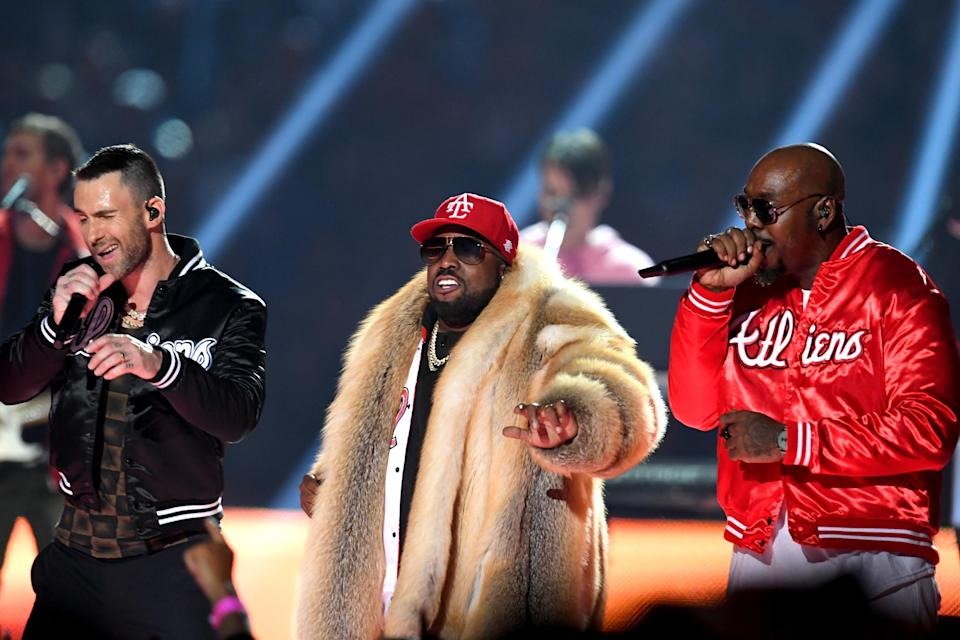 <p>(L-R) Adam Levine of Maroon 5, Big Boi, and Sleepy Brown perform during the Pepsi Super Bowl LIII Halftime Show at Mercedes-Benz Stadium on February 3, 2019 in Atlanta, Georgia. (Photo by Kevin Winter/Getty Images) </p>