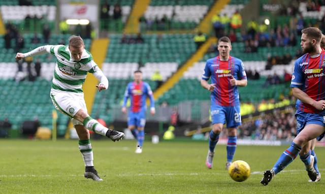 "Football Soccer - Celtic v Inverness Caledonian Thistle - Ladbrokes Scottish Premiership - Celtic Park - 20/2/16 Celtic's Leigh Griffiths (L) scores their second goal Action Images via Reuters / Graham Stuart Livepic EDITORIAL USE ONLY. No use with unauthorized audio, video, data, fixture lists, club/league logos or ""live"" services. Online in-match use limited to 45 images, no video emulation. No use in betting, games or single club/league/player publications. Please contact your account representative for further details."