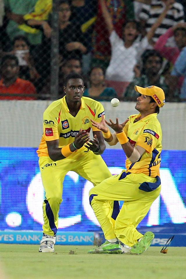 S. Badrinath takes a catch to dismiss Thisara Perera during match 54 of the Pepsi Indian Premier League between The Sunrisers Hyderabad and Chennai Superkings held at the Rajiv Gandhi International  Stadium, Hyderabad  on the 8th May 2013Photo by Prashant Bhoot-IPL-SPORTZPICS Use of this image is subject to the terms and conditions as outlined by the BCCI. These terms can be found by following this link:https://ec.yimg.com/ec?url=http%3a%2f%2fwww.sportzpics.co.za%2fimage%2fI0000SoRagM2cIEc&t=1493180346&sig=dWGSsXv4FLaEbC9vjOiDmg--~C
