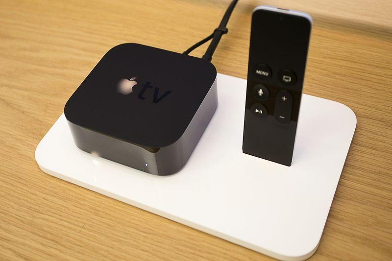 A new Apple TV is pictured at an Apple Store in Los Angeles, California