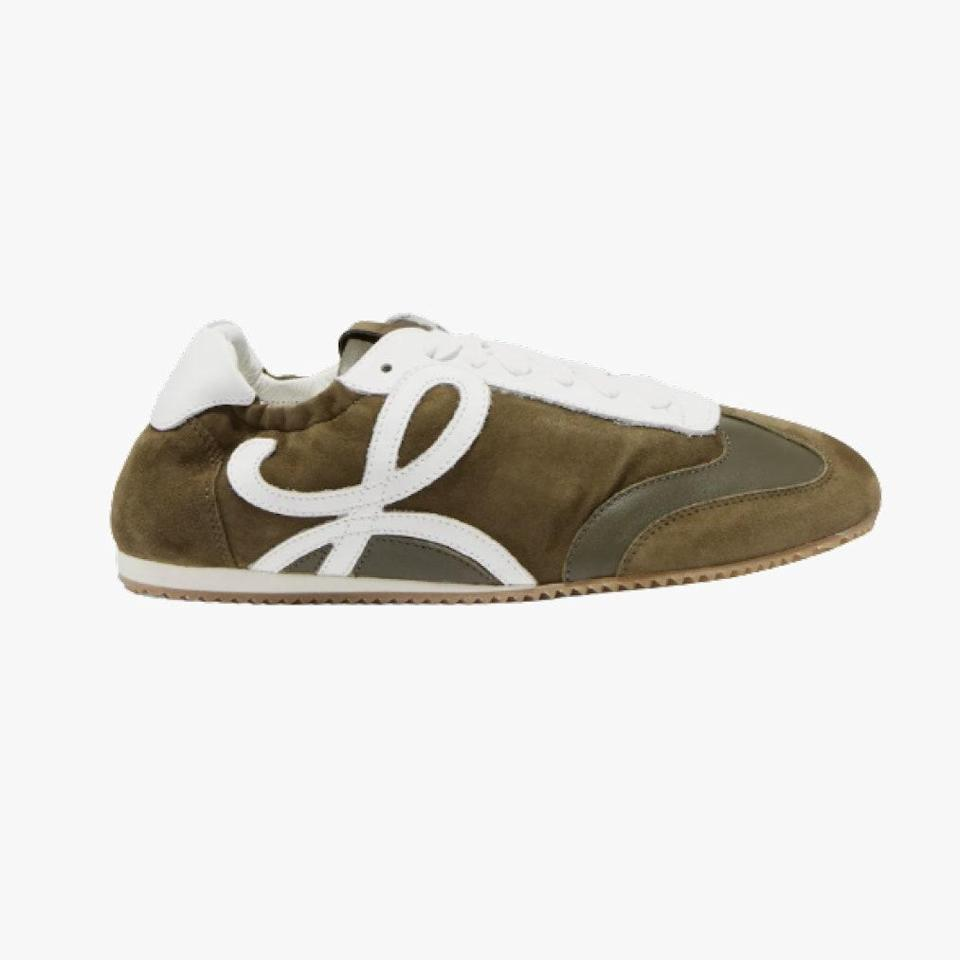 "$750, NET-A-PORTER. <a href=""https://www.net-a-porter.com/en-us/shop/product/loewe/suede-and-leather-sneaker/1180206"" rel=""nofollow noopener"" target=""_blank"" data-ylk=""slk:Get it now!"" class=""link rapid-noclick-resp"">Get it now!</a>"