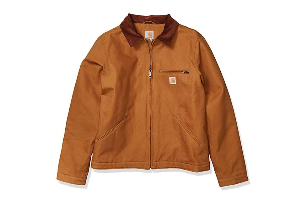"$90, Amazon. <a href=""https://www.amazon.com/Carhartt-Detroit-Jacket-Regular-Sizes/dp/B07S194BB2/ref=cs_sr_dp_2?dchild=1&keywords=carhartt%2Bjacket&qid=1599567633&s=apparel&sr=1-6&th=1&psc=1"" rel=""nofollow noopener"" target=""_blank"" data-ylk=""slk:Get it now!"" class=""link rapid-noclick-resp"">Get it now!</a>"