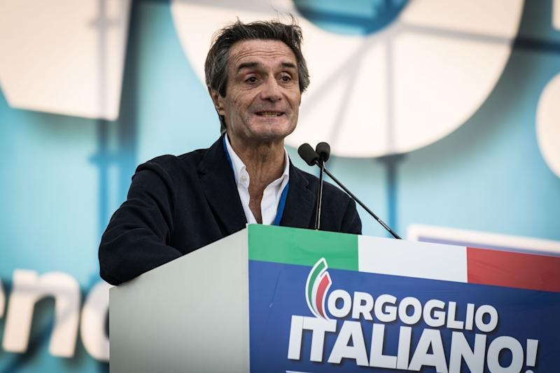 """Attilio Fontana President Region Lombardita during the Thousands of protesters are gathering in Rome for a so-called """"Italian Pride"""" rally, which brings together the right-wing League of Salvini, the far-right Brothers of Italy of Giorgia Meloni and former premier Silvio Berlusconi's Forza Italiaon October 19, 2019 in Rome, Italy. (Photo by Andrea Ronchini/NurPhoto via Getty Images) (Photo: NurPhoto via Getty Images)"""