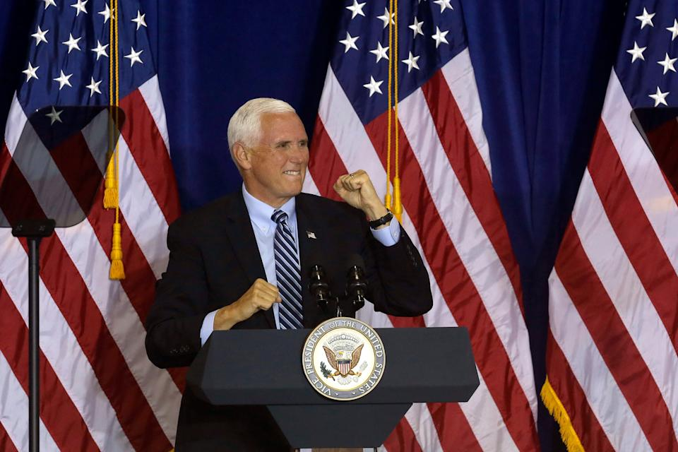 Vice President Mike Pence on Oct. 19, 2020, in New Cumberland, Penn.