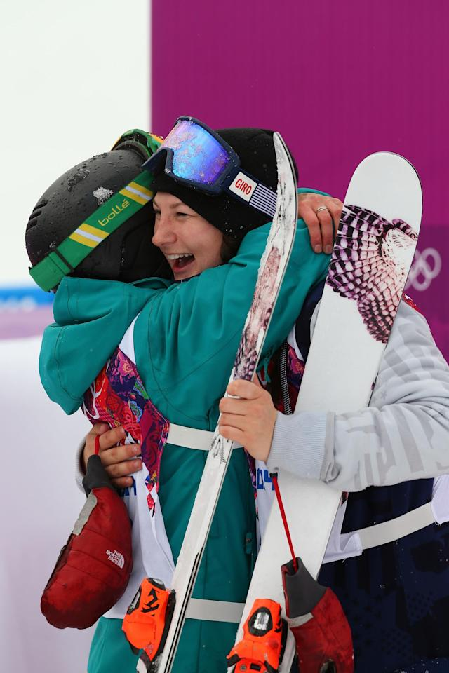 SOCHI, RUSSIA - FEBRUARY 11: Devin Logan of the United States hugs Anna Segal of Australia after their runs in the Freestyle Skiing Women's Ski Slopestyle Finals on day four of the Sochi 2014 Winter Olympics at Rosa Khutor Extreme Park on February 11, 2014 in Sochi, Russia. (Photo by Mike Ehrmann/Getty Images)