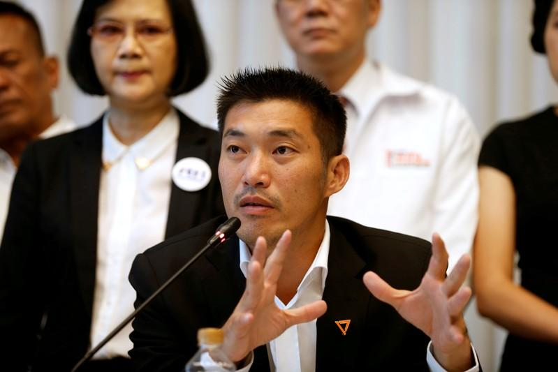 "FILE PHOTO: Thanathorn Juangroongruangkit, leader of the Future Forward Party talks during a news conference to form a ""democratic front"" in Bangkok"