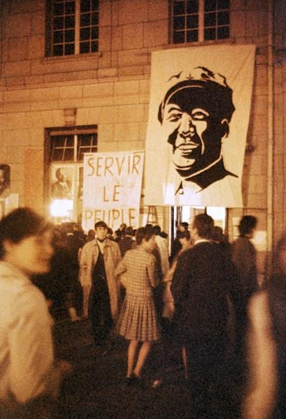 Students at the occupied Sorbonne University in May 1968, in front of a portrait of Chinese communist leader Mao Zedong