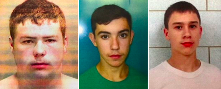 From left: Kyle Anger, 17, Mikadyn Payne, 16, and Mark Sekelsky, 16, could face life behind bars. (Genesee County Prosecutors Office)