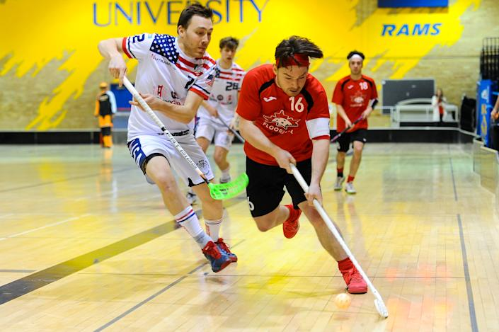 Floorball action between the United States (white jerseys) and Canada at the North American World Championship qualifiers.