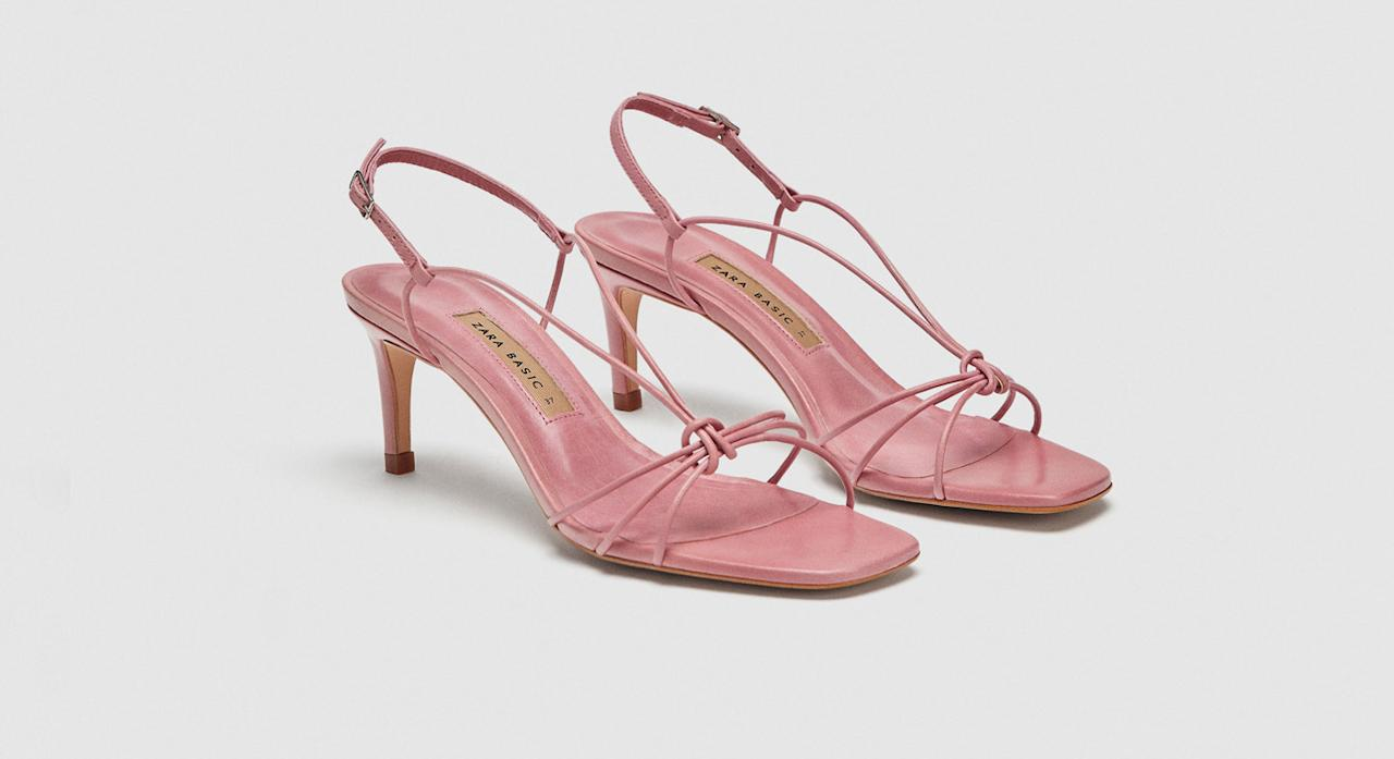 "<p>These blush pink sandals from Zara look far more high-end than their price-tag, plus the strappy knot front is a style we've been seeing all over Instagram from the fashion set.<br /><a rel=""nofollow"" href=""https://www.zara.com/uk/en/leather-strappy-high-heel-sandals-p12336301.html?v1=6618002&v2=1074660"">Buy here.</a> </p>"