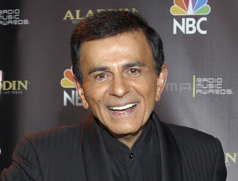 """FILE - In this Oct. 27, 2003, file photo, Casey Kasem poses for photographers after receiving the Radio Icon award during The 2003 Radio Music Awards at the Aladdin Resort and Casino in Las Vegas. Family members of radio personality Casey Kasem have settled a lawsuit against his widow that alleged her neglect and physical abuse led to his death in 2014. The two sides filed a joint request to have the case and a counter-suit, part of a legal battle over the late life and death of the longtime """"American Top 40"""" host, dismissed in Los Angeles Superior Court on Monday. (AP Photo/Eric Jamison, File)"""