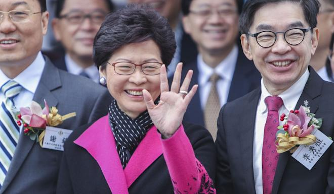 Eddy Li (pictured with Chief Executive Carrie Lam) said the central government's plans for Shenzhen could signal bad news for Hong Kong. Photo: Winson Wong
