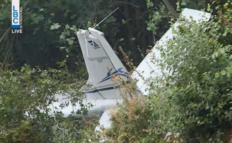 A view of the wreckage of a training aircraft at the site of its crash in Lebanon's town of Ghosta