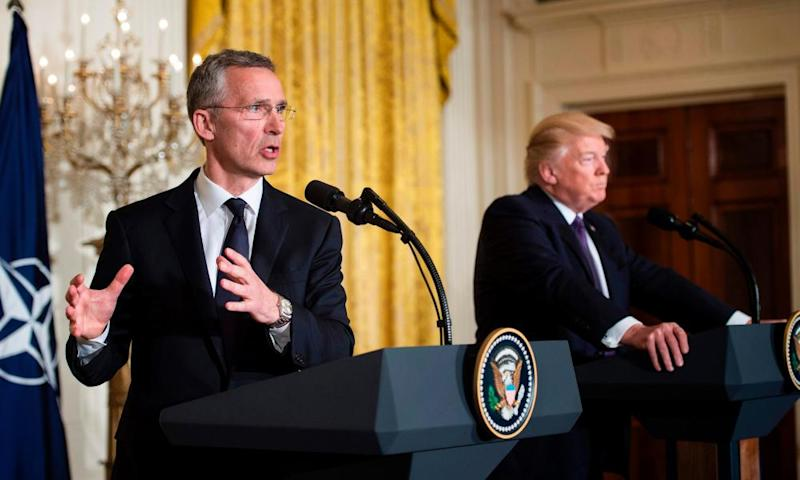 Donald Trump with Nato's Jens Stoltenberg.