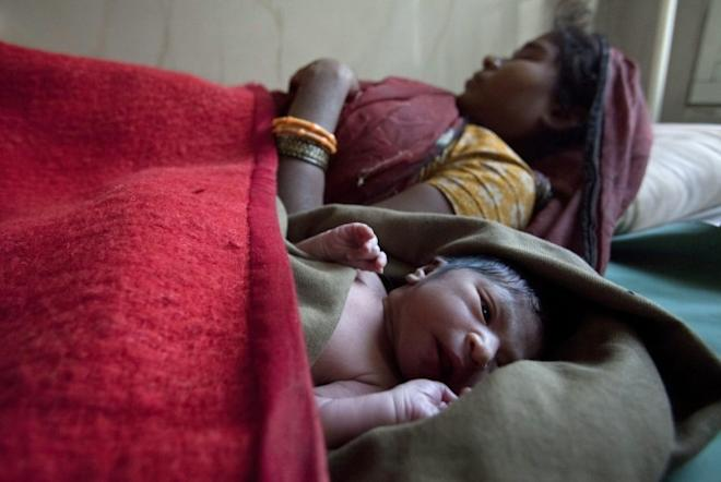 Indian mother newborn baby