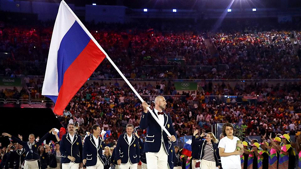 Pictured here, Russian athletes come together for the 2016 Rio Olympic Games opening ceremony.