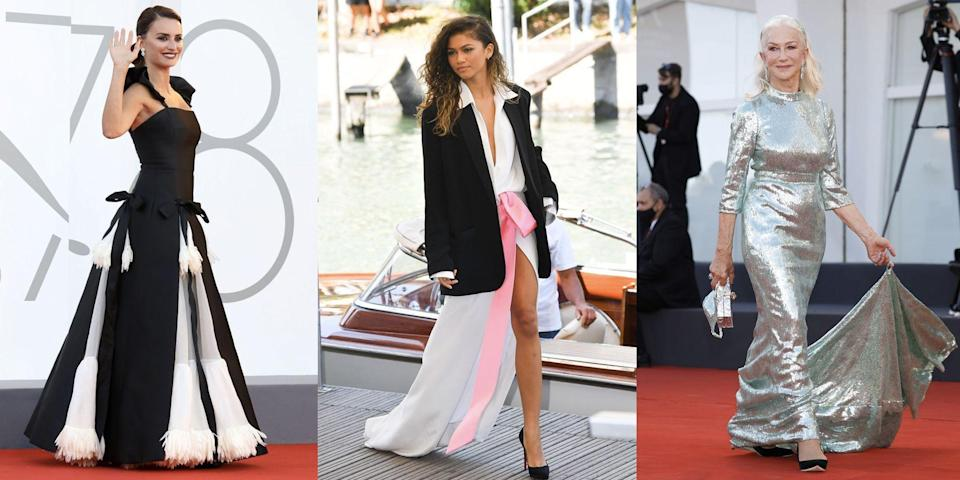 """<p>The Venice Film Festival 2021 is well underway, featuring a number of our favourite A-list stars gracing the red carpet as they showcase their films set to arrive in cinemas later this year. </p><p>September is bringing us a number of glamorous events that we've missed in the wake of the pandemic. Earlier this month saw Dolce & Gabbana hosting their Alta Moda fashion show in St Mark's Square, which featured guests including <a href=""""https://www.redonline.co.uk/red-women/news-in-brief/a37440430/helen-mirren-gown-dolce-and-gabbana-show/"""" rel=""""nofollow noopener"""" target=""""_blank"""" data-ylk=""""slk:Dame Helen Mirren"""" class=""""link rapid-noclick-resp"""">Dame Helen Mirren</a> and <a href=""""https://www.redonline.co.uk/red-women/news-in-brief/a36963913/jennifer-lopez-never-better/"""" rel=""""nofollow noopener"""" target=""""_blank"""" data-ylk=""""slk:Jennifer Lopez."""" class=""""link rapid-noclick-resp"""">Jennifer Lopez. </a></p><p>Last year, the Venice Film Festival went ahead despite the outbreak of Covid-19, but due to a number of social distancing restrictions in place, it was a much smaller event than usual. </p><p>The <a href=""""https://www.redonline.co.uk/reviews/what-to-watch-tonight/g31953783/new-films-to-watch/"""" rel=""""nofollow noopener"""" target=""""_blank"""" data-ylk=""""slk:films"""" class=""""link rapid-noclick-resp"""">films</a> being debuted at the festival this year include Timothy Chalamet and Zendaya's Dune, Kirsten Stewart's eagerly-anticipated Princess Diana biopic Spencer, Penelope Cruz's Madres Paralelas, and The Power of the Dog, starring Benedict Cumberbatch and Kirsten Dunst. </p><p>Here, we run through the best dressed stars to grace the Venice Film Festival red carpet this year... </p>"""