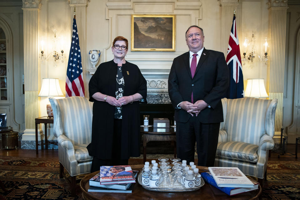 US Secretary of State Mike Pompeo meets with Australia's Foreign Minister Marise Payne on Monday. Source: AAP