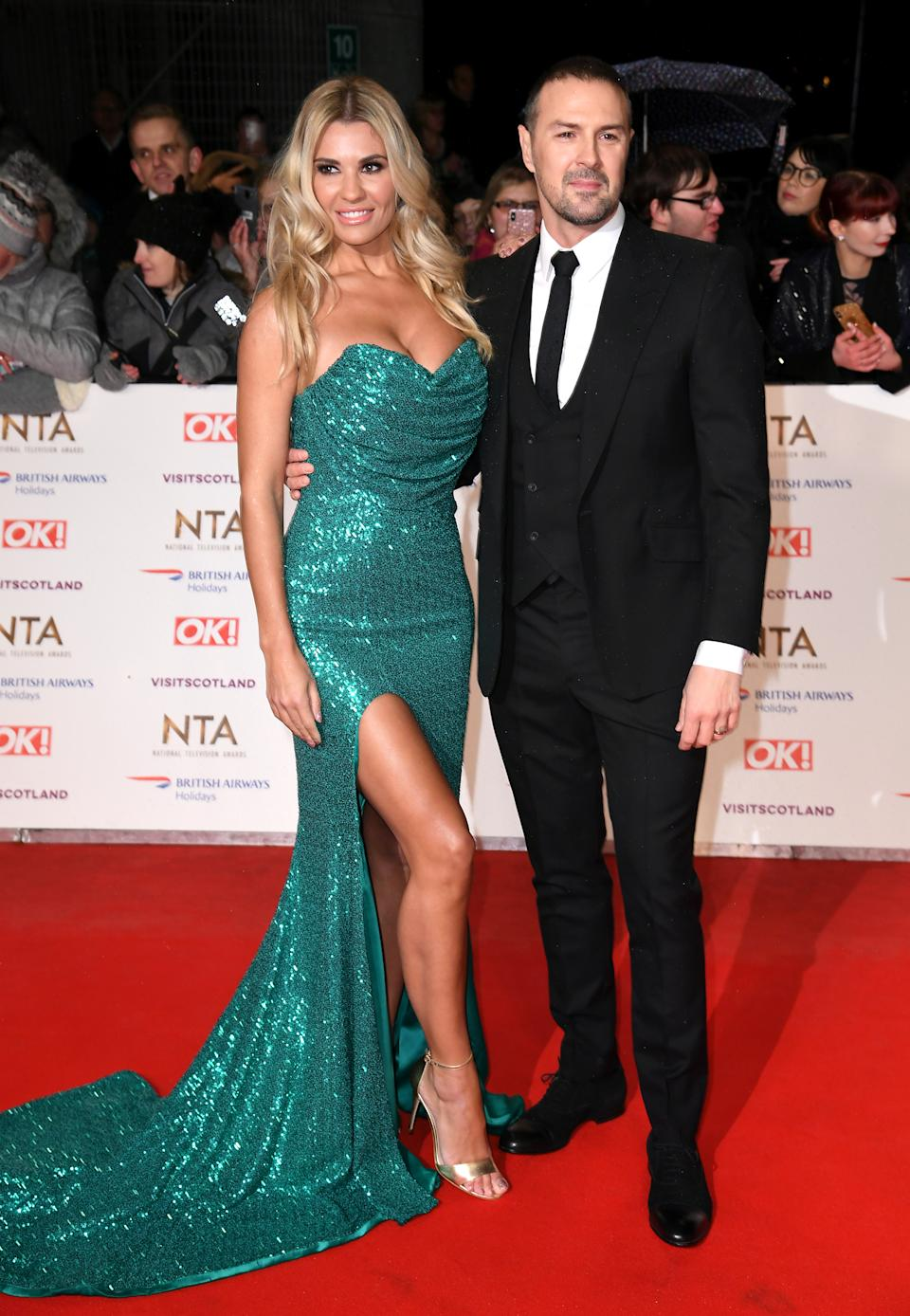 Paddy McGuinness (right) and Christine McGuinness attending the National Television Awards 2019 held at the O2 Arena, London. Photo credit should read: Doug Peters/EMPICS