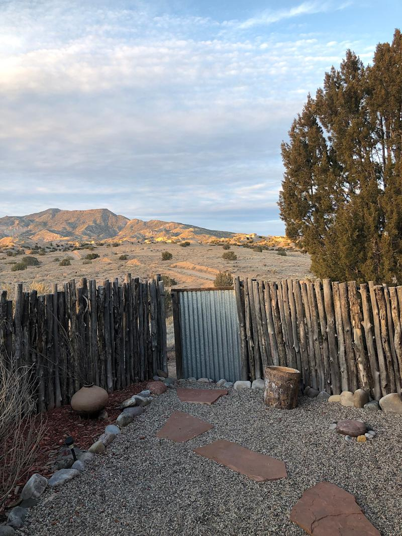 We rented a peaceful house in a ranch in El Rito near Abiquiu. This place is very special and known for the landscapes that inspired Georgia O'Keeffe. Coyotes were our visitors.