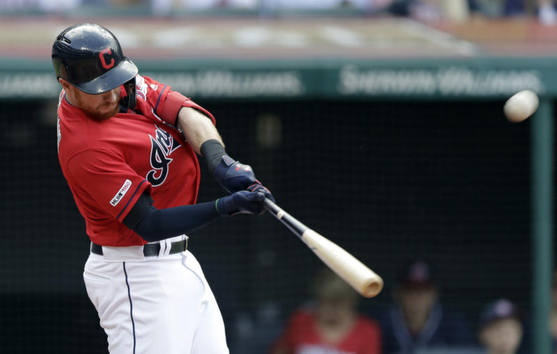 Cleveland Indians' Jordan Luplow hits a two-run home run off Baltimore Orioles starting pitcher John Means in the fourth inning of a baseball game, Saturday, May 18, 2019, in Cleveland. Carlos Santana scored on the play. (AP Photo/Tony Dejak)