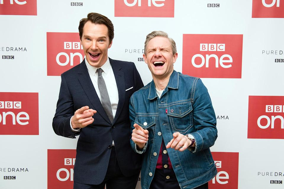 LONDON, ENGLAND – DECEMBER 19: (L-R) Benedict Cumberbatch and Martin Freeman attend a screening of the Sherlock 2016 Christmas Special at Ham Yard Hotel on December 19, 2016 in London, England. (Photo by Jeff Spicer/Getty Images)