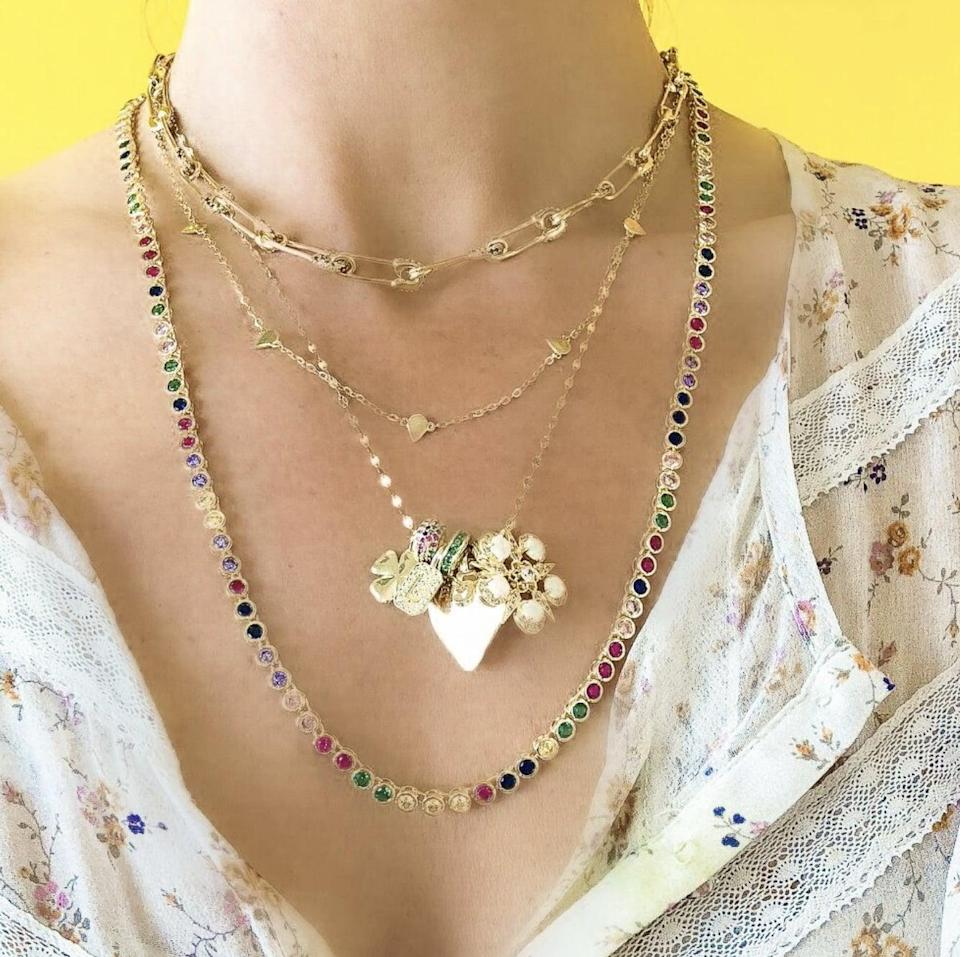 <p>This pretty <span>Melinda Maria Baroness Necklace</span> ($198) comes in a bunch of different colors, but we're partial to this rainbow style.</p>