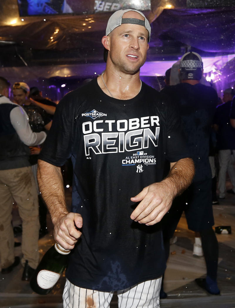 NEW YORK, NEW YORK - SEPTEMBER 19: Brett Gardner #11 of the New York Yankees celebrates after the New York Yankees clinched the American League East division title at Yankee Stadium on September 19, 2019 in Bronx borough of New York City. (Photo by Elsa/Getty Images)