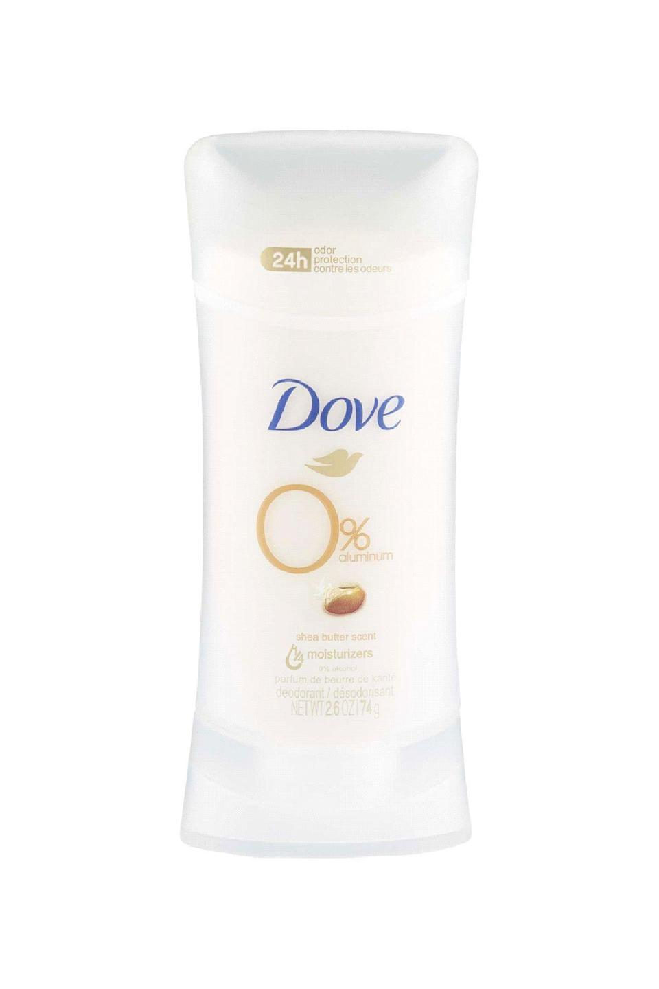 "<p><strong>Dove</strong></p><p>walmart.com</p><p><strong>$5.97</strong></p><p><a href=""https://go.redirectingat.com?id=74968X1596630&url=https%3A%2F%2Fwww.walmart.com%2Fip%2F806895923&sref=https%3A%2F%2Fwww.marieclaire.com%2Fbeauty%2Fg36081134%2Fbest-deodorant-for-women%2F"" rel=""nofollow noopener"" target=""_blank"" data-ylk=""slk:SHOP IT"" class=""link rapid-noclick-resp"">SHOP IT</a></p><p>""This deodorant helps mask body odor without causing irritation to the skin. It contains the same types of hydrating ingredients found in traditional moisturizer, making it useful even in people who have sensitive skin,"" says New York City dermatologist Joshua Zeichner. It's also an easy-to-fine, deeply affordable aluminum-free option. </p>"